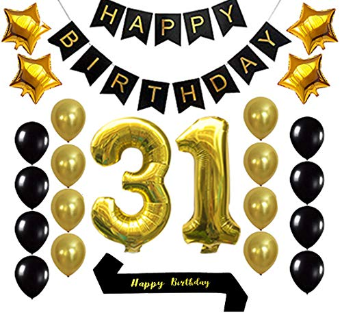 Gold 31st Birthday Decorations Balloon Banner - Happy Birthday Banner, 31 Gold Number Balloons, Gold and Black Balloons, Happy Birthday sash, Birthday Decoration Supplies Fancy