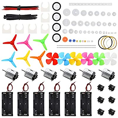 Sntieecr 6 Set DC Motors Kit, Mini Electric Motor 3V 15000RPM with 66 PCS Plastic Gears, AA Battery Holder Case, Motor Bracket, Shaft Propeller and Rocker Switch for DIY Toys Science Projects from Sntieecr