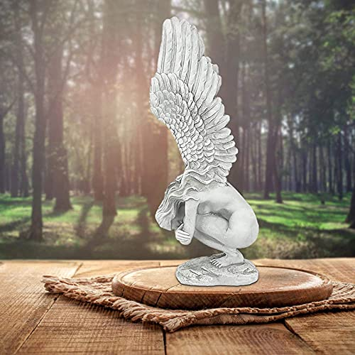 Resina Antiguo Ángel Ala Estatuas Figura de Jardín Figurines Creativas Whimsical Esculturas de Arte,Redención Ángel Religiosa Estatua Al Aire Libre,Recuerdo Estatua de Jardín-Gris 15x4.2x6.5cm(6x1.6x2