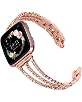 Surace Compatible with Fitbit Versa Bands Versa 2 Bands Women Bracelet with Diamond Replacement for Fitbit Versa 2 Bands Compatible for Fitbit Versa Band Versa Lite Bands Smart Watch, Rose Gold