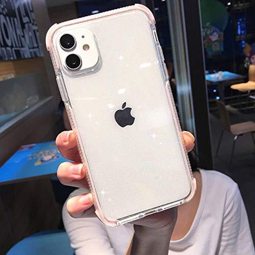 WGOUT Estuche Transparente para teléfono con Purpurina a Prueba de Golpes para iPhone 12 11 11Pro MAX XR XS MAX 8 7 6 6s Plus X XS 11Pro Carcasa Trasera de Silicona Suave, Rosa, para iPhone 12 Pro