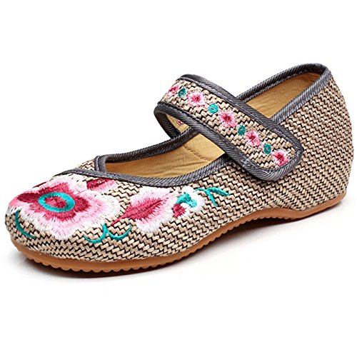 Qhome Womens Chinese Embroidery Weave Oxfords Sole Girls Mary Jane Plarform Shoes Grey