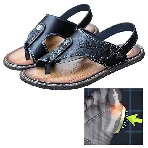Sandalias de corrección del dedo gordo del pie Hueso Verano Zapatos de hombre suela plana Zapatillas de cuero de PU Antideslizante Resistente al desgaste Zapatillas cómodas para viajes ortopédicos a l
