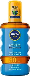 NIVEA SUN Protege & Broncea Aceite Solar FP30 (1 x 200 ml) activador del bronceado protección solar alta resistente al a...
