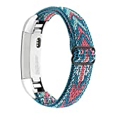 Adjustable Elastic Bands Compatible with Fitbit Alta/Alta HR, Soft Stretchy Nylon Sports Breathable Replacement Wristbands for Women Men (Green Arrow)