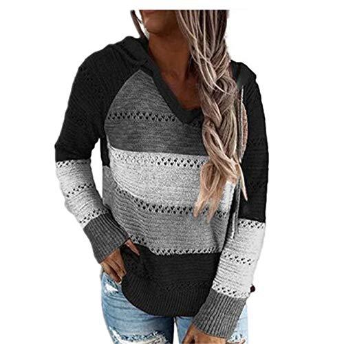 WUDUHUI Top Pullover Casual con Cuciture A Tre Colori da Donna Autunno/Inverno