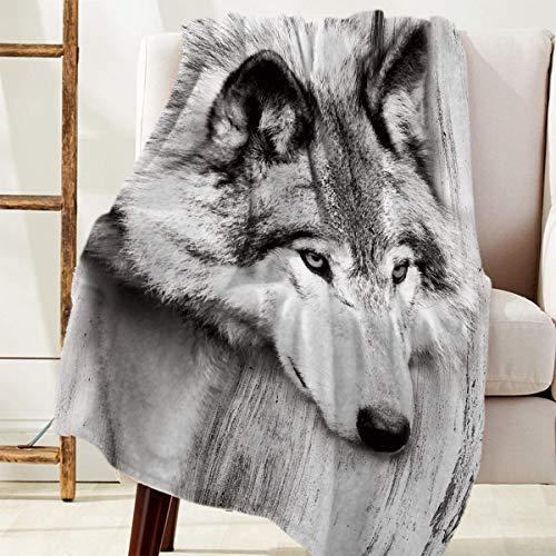 Manta de Franela 150X125cm,Manta Felpa Suave Shaggy Fleece, Lavable a máquina, Manta de Tiro para niños Adultos Manta de Franela Impresa (Lobo)