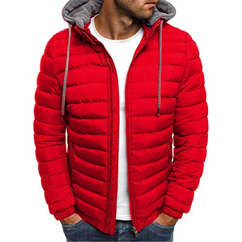 Men's Lightweight Warm Puffer Jackets Autumn Winter Down Jacket Thermal Hybrid Hiking Coat Water Resistant Packable Red