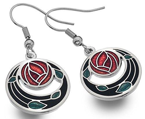 Mackintosh Rose & Coils Earrings (Black)