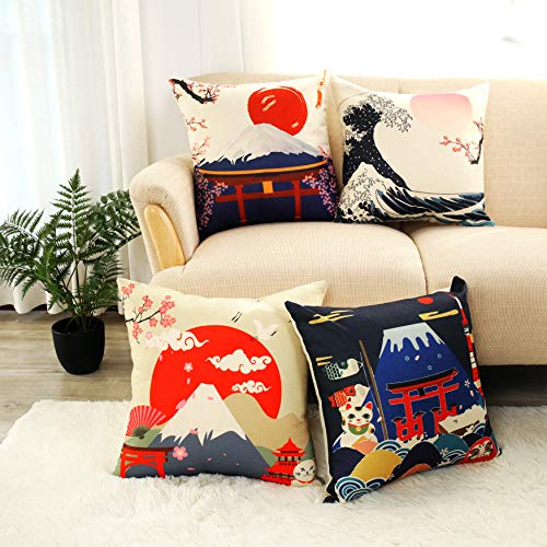 LIGICKY Funda de almohada decorativa de lino de algodón estilo japonés Fuji Mountain Print Square Fundas de cojín para sofá, cama, decoración del hogar (45 x 45 cm, juego de 4)