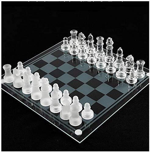 Aocean Juego de ajedrez Juegos l Adultos Niños Tablero Ajedrez Juego de ajedrez de Cristal con Piezas de ajedrez de Cristal Fondo de Fieltro, Tranquilidad Estable, 3 tamaños, SM