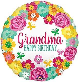 Amscan International 3556701 Happy Birthday Grandma Floral Foil Balloon