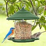 Vogelfutterspender, Futterautomat zum Hängen, Vogelfutterhaus, Vogelfutterstation,Futterspender,Körner Wildvögel Futtersilo Vogelfutterspender mit stabilen Sitzringen und Schutzdach für Wildvögel