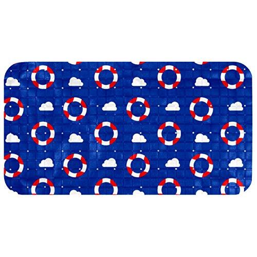 LANIY Alfombrilla de ducha antibacteriana para bañera, antideslizante, lavable, con ventosas, alfombrilla de seguridad para cuarto de baño, baño, gimnasio, cocina, niños, color azul