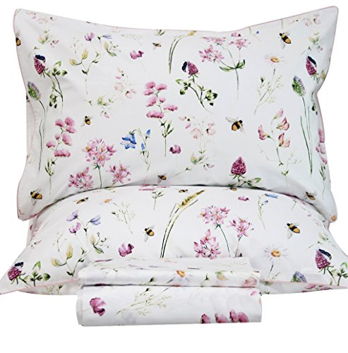 Queen's House Bed Sets Egyptian Cotton Floral Bedding Sheets Set-King,E