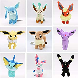 YOYOTOY 9 Pc/Lot 20 cm Plush Toys Standing Espeon Cartoon Stuffed Animal Soft Dolls Gift for Kids Must Have Items 6 Year Old Girl Gifts Boys Favourite Characters Superhero Cupcake Toppers