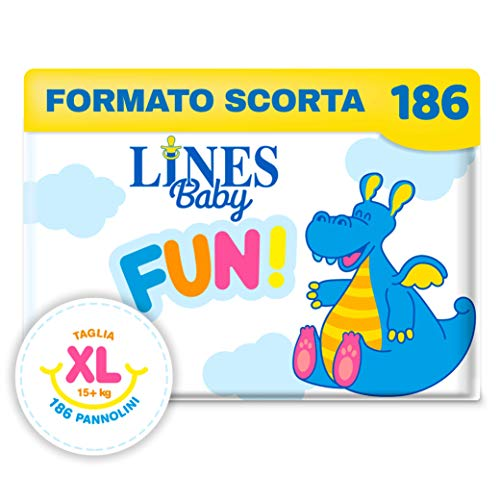 Lines Baby FUN! Extra Large, 186 pannolini, taglia 5-6 (15+ kg)
