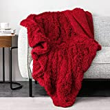 Pawque Decorative Soft Fluffy Faux Fur Throw Blanket 60' x 80', Reversible Long Shaggy Cozy Furry Blanket, Queen Size Bedding Blanket, Comfy Microfiber Accent Chic Plush Fuzzy Blanket, Red