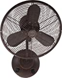 16 Inch Outdoor Wall Mount Patio Fans Oscillating by Craftmade BW116AG3 Bellows I, Aged Bronze