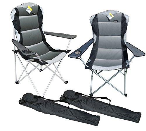 Marko Outdoor 2 x Grey Padded Folding Camping Chairs Fishing Festivals Garden SUMMER