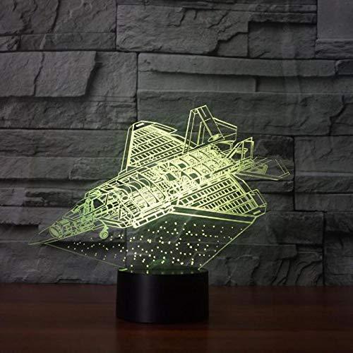 vliegtuigmodel 3D nachtlampje voor kinderen LED illusie lamp met 7 kleuren wijzigen en afstandsbediening - verjaardagen en kerstcadeaus voor kinderen