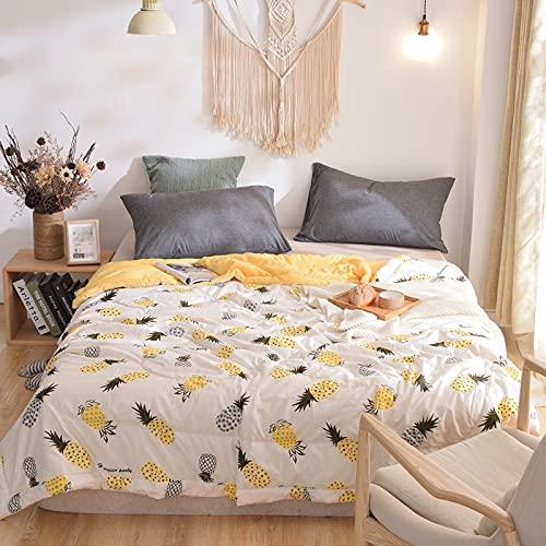 FENXIXI Verano Fresco edredón nórdico Minimalista Estilo japonés a Cuadros Manta Gris Solo Doble Aire Acondicionado sofá edredón (Color : Yellow, Size : 200x230cm)