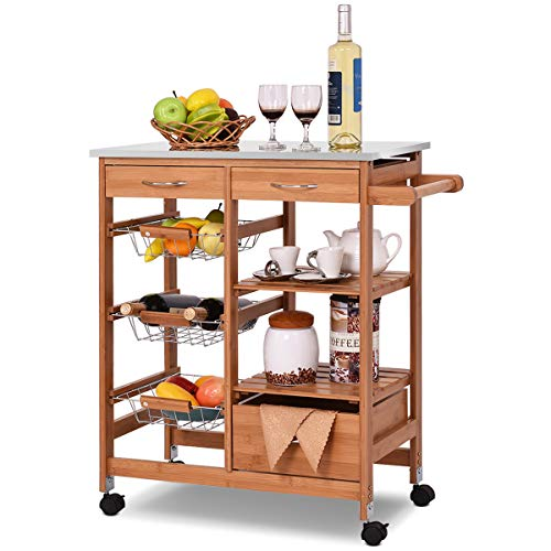 Giantex Kitchen Cart Rolling Island Cart Bamboo Trolley w/Stainless Steel Top,...