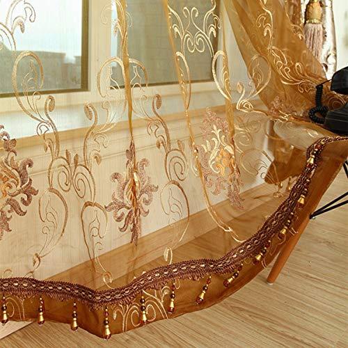 WBXZAL-Rideaux Or estampillée Coutume Rideaux Salon Chambre de Velours brodé de Style européen Produit Fini l'étude qualité Rideau,150,B