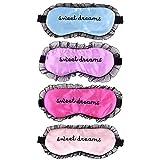ACTLATI Silk Sleep Eye Mask Breathable Eyelashes Blindfold with Elastic Strap Soft Eye Cover for Night Sleeping, Travel, Nap (Pink+Light Blue+Purple+Rose Red)