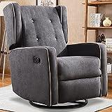 Swivel Rocker Recliner Chair, Nursery Glider Chair, Nursery Rocking Chairs, Manual Reclining Chair, Dark Grey
