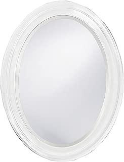 small white framed mirror