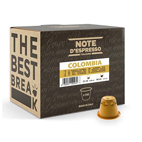 Note d'Espresso Italiano - Cápsulas de Café de Colombia compatibles con cafeteras Nespresso, 100 unidades de 5.6 g, Total: 560 g