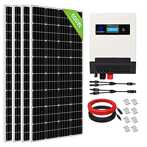 ECO-WORTHY Kit Solar con Inversor Todo en Uno de 300W 600W 900W para RV/Hogar (Kit 600W)