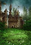 AOFOTO 6x8ft Magic Forest Vintage Medieval Castle Background Fairytale Florets Meadow Photography Backdrop Wonderland Princess Knight Prince Kid Girl Boy Artistic Portrait Photo Studio Props Wallpaper