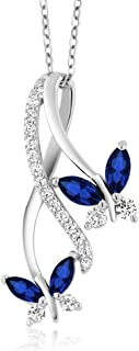 1.21 Ct Marquise Blue Created Sapphire 925 Sterling Silver Butterfly Infinity Pendant