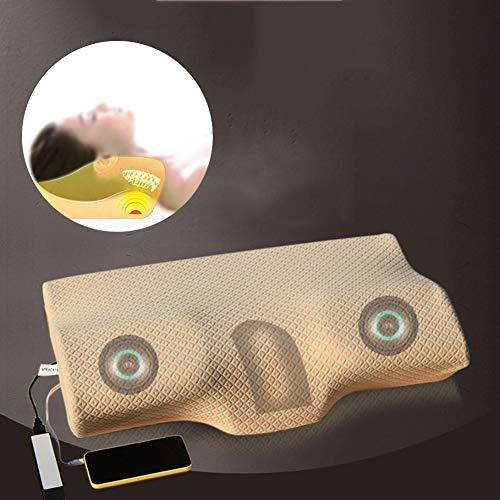 Elektrische Massage Muziek Nekkussen, 3D Surround Sound USB Oplaadbarevibratie Smart Slim Slaap Kussen Mat Nek Ondersteuning Bevordering van Slaap
