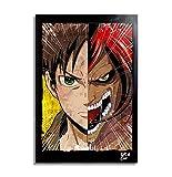 Eren Jaeger de Ataque de los Titanes (Shingeki no Kyojin) - Pintura Enmarcado Original, Imagen Pop-A...