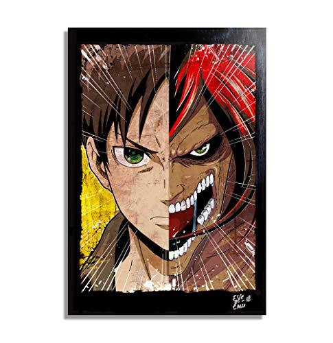 Eren Jaeger de Ataque de los Titanes (Shingeki no Kyojin) - Pintura Enmarcado Original, Imagen Pop-Art, Impresion Poster, Impresion en Lienzo, Cuadro, Comics, Cartel de la Pelicula, Anime, Manga