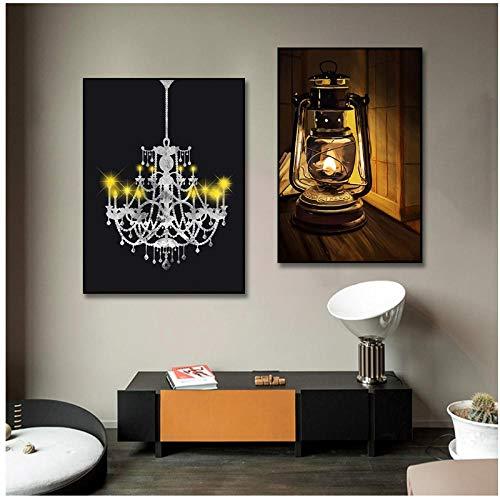 FUXUERUI Lámpara de mesa retro, póster de arte, imagen de impresión, luz amarilla nórdica, pintura en lienzo, arte de pared, sala de estar, decoración de la pared del hogar - 36x60cmx2