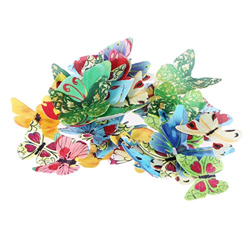 LIOOBO Schmetterling Kuchen Dekoration Essbare Reispapier Cake Deko 40Pcs (Verschiedene Muster)