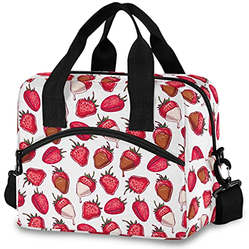 MNSRUU Insulated Lunch Bag Red Strawberries And Chocolate Lunch Tote Reusable Cooler Bag Container with Adjustable Shoulder Strap