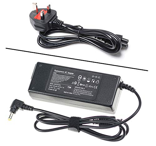 75W AC Adapter Charger for Toshiba Satellite C850 C50 C55 C660 C660D C650D C850D L750 L300 L500 C650 PA3917U-1ACA ;Satellite Pro A200 A210 A300 Series PA-1750-59 UK Laptop Power Supply Cord 19V 3.95A