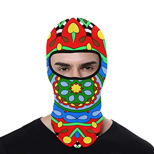 Balaclava Face Mask Protection for Men Women Sun Hood Colourful Mandala Shadan Oriental Circle Ornament Beanies Soft Lightweight Outdoor Sports Cycling Hat Metallic