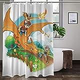 Pokémon Duschvorhang, farbenfroh, verschleißfest, hitzewiderstandsfähig, ungiftig, geruchlos.