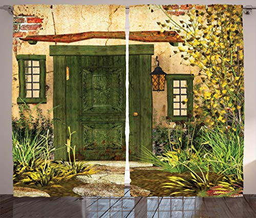 """Ambesonne Rustic Curtains, Cottage Door Overgrown Bushes Grass Tree Garden Brick Countryside, Living Room Bedroom Window Drapes 2 Panel Set, 108"""" X 84"""", Yellow Ivory"""