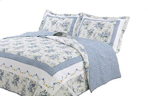 Textiles Plus, Inc. 100-Percent Cotton Full/Queen Mini Quilt Set, Trellis Blue