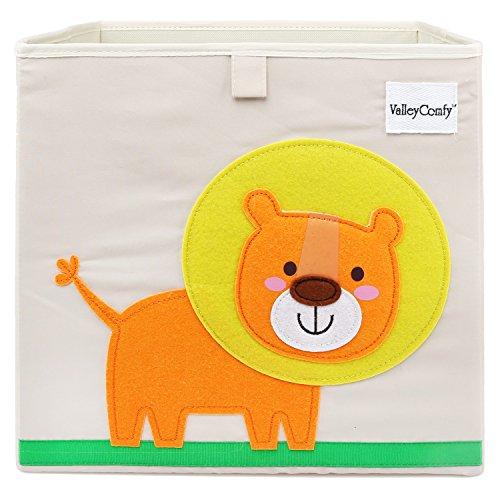 Valleycomfy - Caja de almacenaje de juguetes para niños, cubo plegable de dibujos animados, organizador, cesta para ropa de armario, zapatos, juguetes y puntos, 33 x 33 x 33 cm beige león