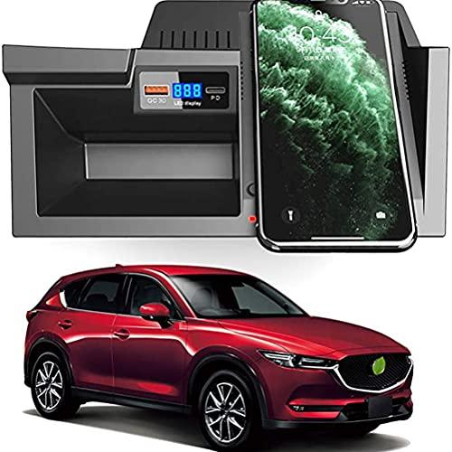 Cargador InaláMbrico para AutomóVil para Mazda Cx5 2017 2018 2019 2020 Panel de Accesorios de Consola Central, 15w Qc3.0 Cargador de TeléFono de Carga RáPida Con Puerto Usb de 18w Y Puerto Pd
