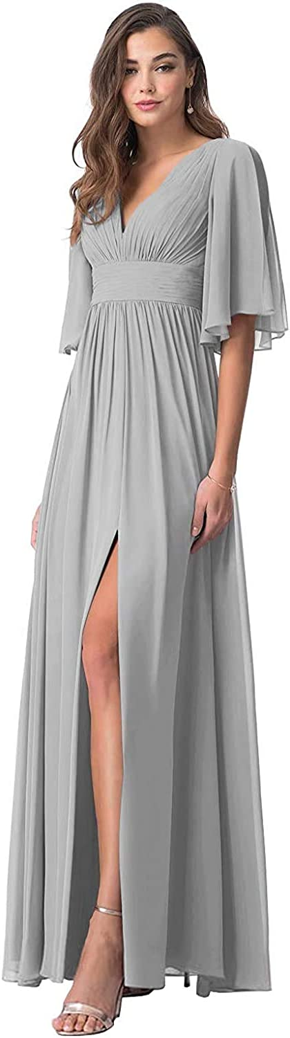 YOYOHCK Chiffon V-Neck Bridesmaid Dress Short Ruched Sleeves Long Slit Formal Evening Prom Gowns 2021