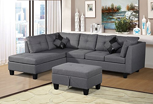 Merax Sofa 3-Piece Sectional Sofa with Chaise Lounge/Storage Ottoman/7 Back...